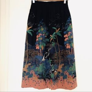 Vintage Asian Cranes Print Woven Skirt